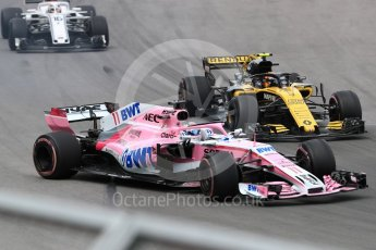 World © Octane Photographic Ltd. Formula 1 – Canadian GP - Race. Sahara Force India VJM11 - Sergio Perez and Renault Sport F1 Team RS18 – Carlos Sainz. Circuit Gilles Villeneuve, Montreal, Canada. Sunday 10th June 2018.