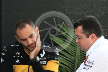 World © Octane Photographic Ltd. Formula 1 - Canadian GP - Paddock. Eric Boullier - Racing Director of McLaren Honda and Cyril Abiteboul - Managing Director of Renault Sport Racing Formula 1 Team. Circuit Gilles Villeneuve, Montreal, Canada. Saturday 9th June 2018.