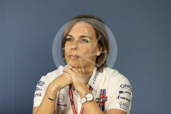 World © Octane Photographic Ltd. Formula 1 - Canadian GP - Friday FIA Team Press Conference. Claire Williams - Deputy Team Principal of Williams Martini Racing. Circuit Gilles Villeneuve, Montreal, Canada. Friday 8th June 2018.