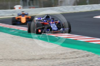 World © Octane Photographic Ltd. Formula 1 – Winter Test 1. Scuderia Toro Rosso STR13 – Brendon Hartley and McLaren MCL33 – Fernando Alonso. Circuit de Barcelona-Catalunya, Spain. Monday 26th February 2018.