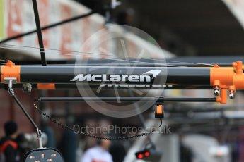 World © Octane Photographic Ltd. Formula 1 – Winter Test 1. McLaren logo on airgun gantry. Circuit de Barcelona-Catalunya, Spain. Tuesday 27th February 2018.