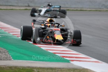 World © Octane Photographic Ltd. Formula 1 – Winter Test 2. Aston Martin Red Bull Racing TAG Heuer RB14 – Max Verstappen and Mercedes AMG Petronas Motorsport AMG F1 W09 EQ Power+ - Lewis Hamilton. Circuit de Barcelona-Catalunya, Spain. Thursday 8th March 2018.