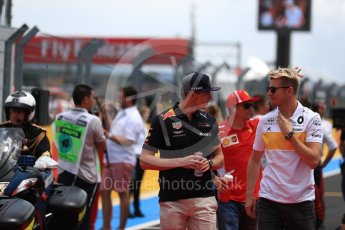 World © Octane Photographic Ltd. Formula 1 – French GP - Drivers Parade. Renault Sport F1 Team RS18 – Nico Hulkenberg and Aston Martin Red Bull Racing TAG Heuer RB14 – Max Verstappen. Circuit Paul Ricard, Le Castellet, France. Sunday 24th June 2018.