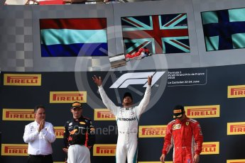 World © Octane Photographic Ltd. Formula 1 – French GP - Race Podium. Mercedes AMG Petronas Motorsport AMG F1 W09 EQ Power+ - Lewis Hamilton, Aston Martin Red Bull Racing TAG Heuer RB14 – Max Verstappen and Scuderia Ferrari SF71-H – Kimi Raikkonen. Circuit Paul Ricard, Le Castellet, France. Sunday 24th June 2018.