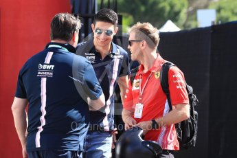 World © Octane Photographic Ltd. Formula 1 – French GP - Paddock. Scuderia Ferrari - Sebastian Vettel and Sahara Force India - Esteban Ocon. Circuit Paul Ricard, Le Castellet, France. Friday 22nd June 2018.