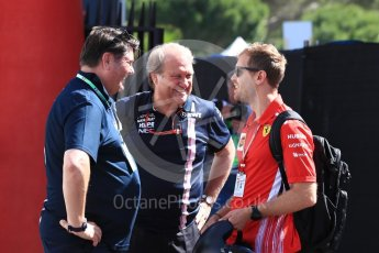 World © Octane Photographic Ltd. Formula 1 – French GP - Paddock. Scuderia Ferrari - Sebastian Vettel and Robert Fernley. Circuit Paul Ricard, Le Castellet, France. Friday 22nd June 2018.