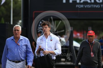World © Octane Photographic Ltd. Formula 1 - French GP - Paddock. Toto Wolff - Executive Director & Head of Mercedes-Benz Motorsport, Niki Lauda - Non-Executive Chairman of Mercedes-Benz Motorsport and Lawrence Stroll. Circuit Paul Ricard, Le Castellet, France. Sunday 24th June 2018.