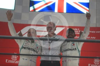 World © Octane Photographic Ltd. Formula 1 – German GP - Podium. Mercedes AMG Petronas Motorsport AMG F1 W09 EQ Power+ - Lewis Hamilton and Valtteri Bottas with Dieter Zetsche, Chairman of the Board of Management of Daimler AG and Head of Mercedes-Benz Cars. Hockenheimring, Baden-Wurttemberg, Germany. Sunday 22nd July 2018.