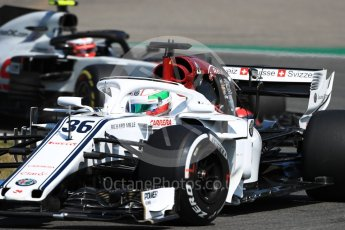 World © Octane Photographic Ltd. Formula 1 – German GP - Practice 1. Alfa Romeo Sauber F1 Team C37 – Antonio Giovinazzi and Haas F1 Team VF-18 – Kevin Magnussen. Hockenheimring, Baden-Wurttemberg, Germany. Friday 20th July 2018.