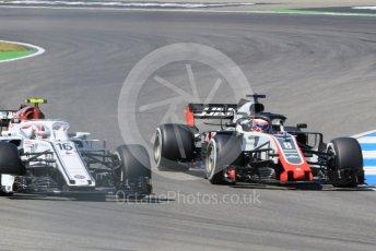 World © Octane Photographic Ltd. Formula 1 – German GP - Practice 2. Alfa Romeo Sauber F1 Team C37 – Charles Leclerc and Haas F1 Team VF-18 – Romain Grosjean. Hockenheimring, Baden-Wurttemberg, Germany. Friday 20th July 2018.