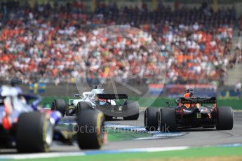 World © Octane Photographic Ltd. Formula 1 – German GP - Race. Williams Martini Racing FW41 – Lance Stroll, Aston Martin Red Bull Racing TAG Heuer RB14 – Daniel Ricciardo and Scuderia Toro Rosso STR13 – Brendon Hartley. Hockenheimring, Baden-Wurttemberg, Germany. Sunday 22nd July 2018.