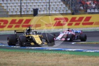 World © Octane Photographic Ltd. Formula 1 – German GP - Race. Renault Sport F1 Team RS18 – Nico Hulkenberg and Sahara Force India VJM11 - Sergio Perez. Hockenheimring, Baden-Wurttemberg, Germany. Sunday 22nd July 2018.