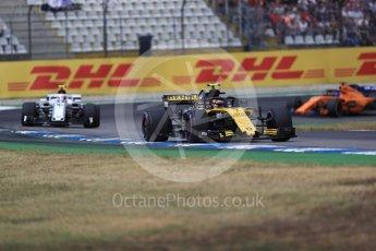 World © Octane Photographic Ltd. Formula 1 – German GP - Race. Renault Sport F1 Team RS18 – Carlos Sainz, Alfa Romeo Sauber F1 Team C37 – Charles Leclerc and McLaren MCL33 – Fernando Alonso. Hockenheimring, Baden-Wurttemberg, Germany. Sunday 22nd July 2018.