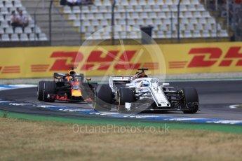 World © Octane Photographic Ltd. Formula 1 – German GP - Race. Alfa Romeo Sauber F1 Team C37 – Marcus Ericsson and Aston Martin Red Bull Racing TAG Heuer RB14 – Daniel Ricciardo. Hockenheimring, Baden-Wurttemberg, Germany. Sunday 22nd July 2018.