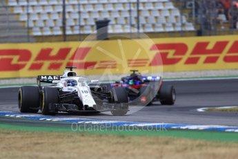 World © Octane Photographic Ltd. Formula 1 – German GP - Race. Williams Martini Racing FW41 – Lance Stroll and Scuderia Toro Rosso STR13 – Brendon Hartley. Hockenheimring, Baden-Wurttemberg, Germany. Sunday 22nd July 2018.