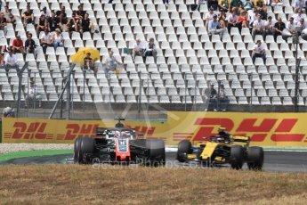 World © Octane Photographic Ltd. Formula 1 – German GP - Race. Haas F1 Team VF-18 – Romain Grosjean and Renault Sport F1 Team RS18 – Carlos Sainz. Hockenheimring, Baden-Wurttemberg, Germany. Sunday 22nd July 2018.