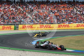World © Octane Photographic Ltd. Formula 1 – German GP - Race. Haas F1 Team VF-18 – Kevin Magnussen and Renault Sport F1 Team RS18 – Nico Hulkenberg. Hockenheimring, Baden-Wurttemberg, Germany. Sunday 22nd July 2018.
