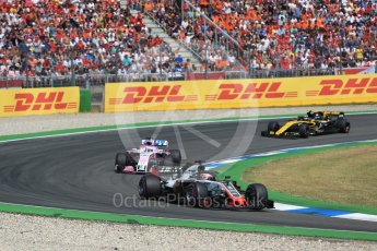 World © Octane Photographic Ltd. Formula 1 – German GP - Race. Haas F1 Team VF-18 – Romain Grosjean, Sahara Force India VJM11 - Sergio Perez and Renault Sport F1 Team RS18 – Carlos Sainz. Hockenheimring, Baden-Wurttemberg, Germany. Sunday 22nd July 2018.