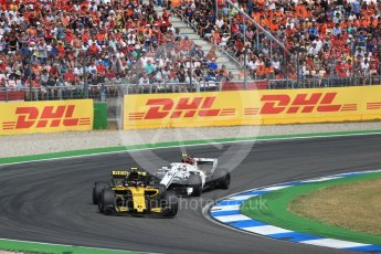 World © Octane Photographic Ltd. Formula 1 – German GP - Race. Renault Sport F1 Team RS18 – Carlos Sainz and Alfa Romeo Sauber F1 Team C37 – Charles Leclerc. Hockenheimring, Baden-Wurttemberg, Germany. Sunday 22nd July 2018.