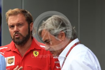 World © Octane Photographic Ltd. Formula 1 - German GP - Paddock. Gino Rosato – Ferrari Corporate Affairs and Carlos Sainz Sr.. Hockenheimring, Baden-Wurttemberg, Germany. Sunday 22nd July 2018.