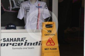 World © Octane Photographic Ltd. Formula 1 – German GP - Paddock. Sahara Force India with Caution Wet Floor sign. Hockenheimring, Baden-Wurttemberg, Germany. Sunday 22nd July 2018.