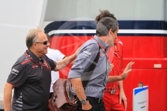 World © Octane Photographic Ltd. Formula 1 - German GP - Paddock. Gene Haas - Founder and Chairman and Guenther Steiner - Team Principal of Haas F1 Team. Hockenheimring, Baden-Wurttemberg, Germany. Saturday 21st July 2018.