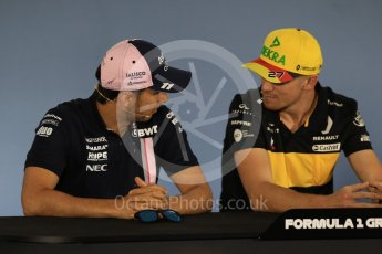 World © Octane Photographic Ltd. Formula 1 – German GP - FIA Drivers' Press Conference. Renault Sport F1 Team RS18 – Nico Hulkenberg and Sahara Force India VJM11 - Sergio Perez. Hockenheimring, Baden-Wurttemberg, Germany. Thursday 19th July 2018.