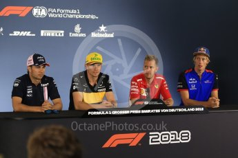 World © Octane Photographic Ltd. Formula 1 – German GP - FIA Drivers' Press Conference. Scuderia Toro Rosso STR13 – Brendon Hartley, Renault Sport F1 Team RS18 – Nico Hulkenberg, Sahara Force India VJM11 - Sergio Perez and Scuderia Ferrari SF71-H – Sebastian Vettel. Hockenheimring, Baden-Wurttemberg, Germany. Thursday 19th July 2018.