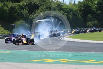 World © Octane Photographic Ltd. Formula 1 – Hungarian GP - Race. Aston Martin Red Bull Racing TAG Heuer RB14 – Max Verstappen locks a brake. Hungaroring, Budapest, Hungary. Sunday 29th July 2018.