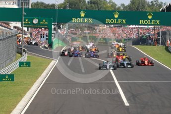 World © Octane Photographic Ltd. Formula 1 – Hungarian GP - Race. Mercedes AMG Petronas Motorsport AMG F1 W09 EQ Power+ - Lewis Hamilton leads the pack into Turn 1. Hungaroring, Budapest, Hungary. Sunday 29th July 2018.