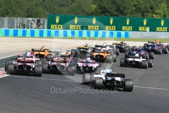 World © Octane Photographic Ltd. Formula 1 – Hungarian GP - Race. Williams Martini Racing FW41 – Sergey Sirotkin and the rest of the grid make it around Turn 1. Hungaroring, Budapest, Hungary. Sunday 29th July 2018.