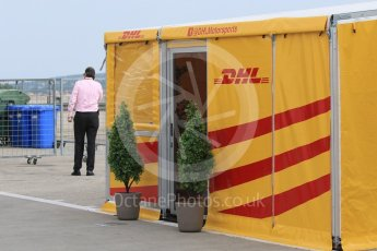 World © Octane Photographic Ltd. Formula 1 – Hungarian GP - Paddock. DHL @DHLMotorsports. Hungaroring, Budapest, Hungary. Saturday 28th July 2018.