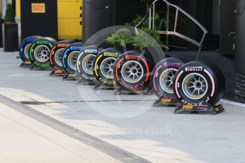 World © Octane Photographic Ltd. Formula 1 – Hungarian GP - Paddock. Pirelli F1 tyre range. Hungaroring, Budapest, Hungary. Saturday 28th July 2018.