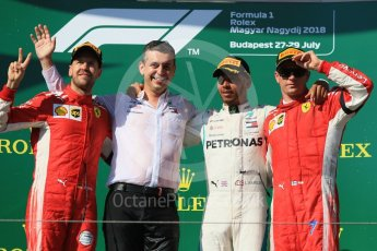 World © Octane Photographic Ltd. Formula 1 – Hungarian GP - Podium. Mercedes AMG Petronas Motorsport AMG F1 W09 EQ Power+ - Lewis Hamilton and Scuderia Ferrari SF71-H – Sebastian Vettel, Kimi Raikkonen and Riccardo Musconi - Senior Race Engineer car #44. Hungaroring, Budapest, Hungary. Sunday 29th July 2018.