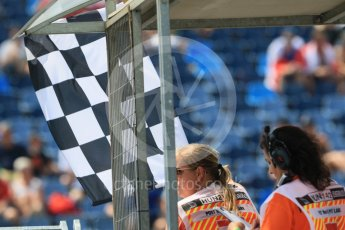 World © Octane Photographic Ltd. Formula 1 – Hungarian GP - Practice 1. Checkered Flag for end of session. Hungaroring, Budapest, Hungary. Friday 27th July 2018.