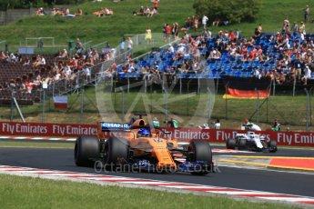 World © Octane Photographic Ltd. Formula 1 – Hungarian GP - Practice 1. McLaren MCL33 – Fernando Alonso and Alfa Romeo Sauber F1 Team C37 – Marcus Ericsson. Hungaroring, Budapest, Hungary. Friday 27th July 2018.