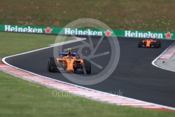 World © Octane Photographic Ltd. Formula 1 – Hungarian GP - Qualifying. McLaren MCL33 – Stoffel Vandoorne and Fernando Alonso. Hungaroring, Budapest, Hungary. Saturday 28th July 2018.