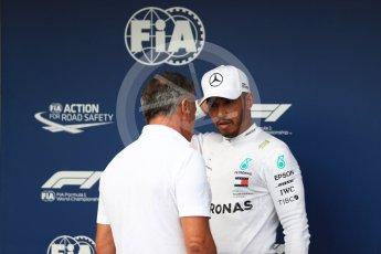 World © Octane Photographic Ltd. Formula 1 – Hungarian GP - Qualifying. Jean Alesi and Mercedes AMG Petronas Motorsport AMG F1 W09 EQ Power+ - Lewis Hamilton. Hungaroring, Budapest, Hungary. Saturday 28th July 2018.