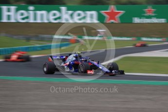 World © Octane Photographic Ltd. Formula 1 – Hungarian GP - Qualifying. Scuderia Toro Rosso STR13 – Pierre Gasly and Scuderia Ferrari SF71-H – Sebastian Vettel and Kimi Raikkonen. Hungaroring, Budapest, Hungary. Saturday 28th July 2018.