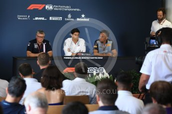 World © Octane Photographic Ltd. Formula 1 - Hungarian GP - Friday FIA Team. Otmar Szafnauer - Chief Operating Officer of Sahara Force India, Toto Wolff - Executive Director & Head of Mercedes-Benz Motorsport and Mario Isola – Pirelli Head of Car Racing. Hungaroring, Budapest, Hungary. Friday 27th July 2018.