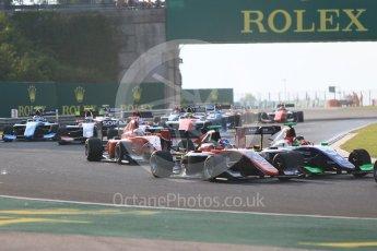World © Octane Photographic Ltd. GP3 – Hungarian GP – Race 1. ART Grand Prix – Jake Hughes and Trident - David Beckmann. Hungaroring, Budapest, Hungary. Saturday 28th July 2018.