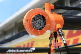 World © Octane Photographic Ltd. Formula 1 – Hungarian GP - Pit Lane. McLaren MCL33. Hungaroring, Budapest, Hungary. Thursday 26th July 2018.