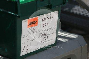 World © Octane Photographic Ltd. Formula 1 – Hungarian GP - Pit Lane. F1 Anthem box. Hungaroring, Budapest, Hungary. Thursday 26th July 2018.