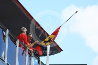 World © Octane Photographic Ltd. Formula 1 – Hungarian GP - Paddock. Scuderia Ferrari flags at half mast being tied with black ribbon in memory of Sergio Marchionne who died 25th July. Hungaroring, Budapest, Hungary. Thursday 26th July 2018.