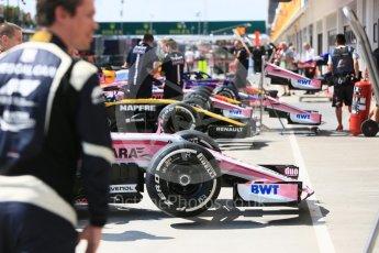 World © Octane Photographic Ltd. Formula 1 – Hungarian GP - Pit Lane. Sahara Force India VJM11, Renault Sport F1 Team RS18, Aston Martin Red Bull Racing TAG Heuer RB14 and Scuderia Toro Rosso STR13 . Hungaroring, Budapest, Hungary. Thursday 26th July 2018.