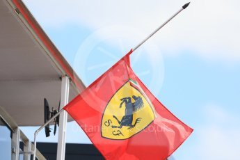 World © Octane Photographic Ltd. Formula 1 – Hungarian GP - Paddock. Scuderia Ferrari flag at half mast in memory of Sergio Marchionne who died 25th July. Hungaroring, Budapest, Hungary. Thursday 26th July 2018.