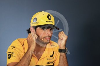 World © Octane Photographic Ltd. Formula 1 – Hungarian GP - FIA Drivers' Press Conference. Renault Sport F1 Team – Carlos Sainz. Hungaroring, Budapest, Hungary. Thursday 26th July 2018.