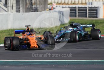 World © Octane Photographic Ltd. Formula 1 – In season test 1, day 2. McLaren MCL33 – Lando Norris and Mercedes AMG Petronas Motorsport AMG F1 W09 EQ Power+ - Valtteri Bottas. Circuit de Barcelona-Catalunya, Spain. Wednesday 16th May 2018.