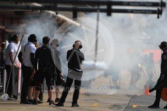World © Octane Photographic Ltd. Formula 1 – In season test 1, day 2. Haas F1 Team smoke screen before car leaves garage. Circuit de Barcelona-Catalunya, Spain. Wednesday 16th May 2018.