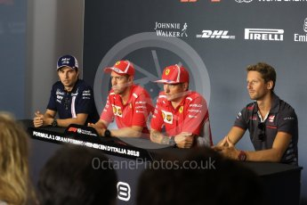 World © Octane Photographic Ltd. Formula 1 – Italian GP - FIA Drivers' Press Conference. Racing Point Force India - Sergio Perez, Scuderia Ferrari - Sebastian Vettel, Scuderia Ferrari - Kimi Raikkonen and Haas F1 Team -Romain Grosjean. Autodromo Nazionale di Monza, Monza, Italy. Thursday 30th August 2018.